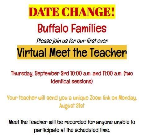 Date Change - Virtual Meet the Teacher